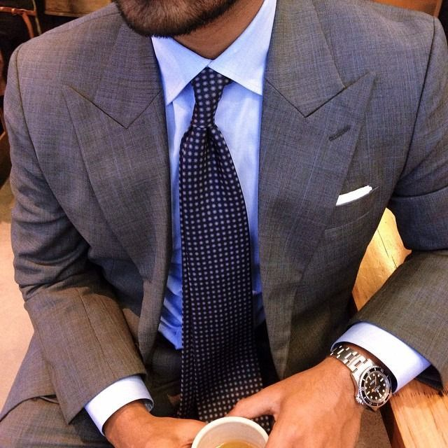 Grey Suit, Blue Shirt, Dotted Tie Chronograph Watch |  Business Men's Style |