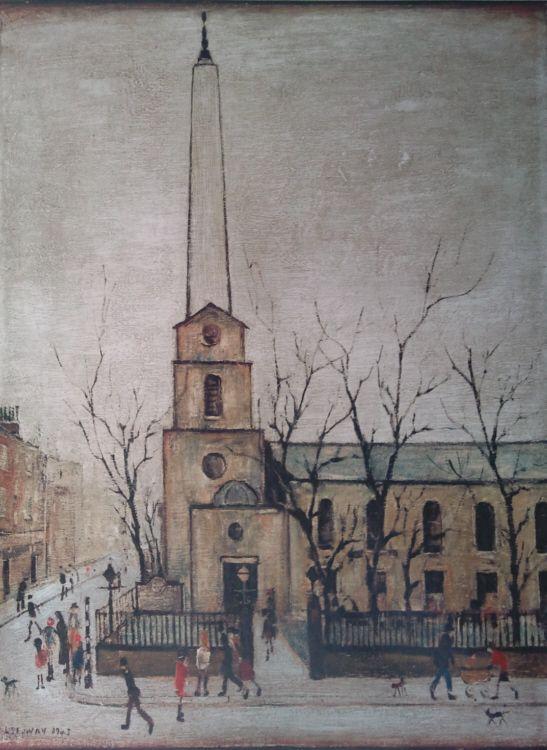 St. Luke's Church in London, United Kingdom, date unknown, by LS Lowry.