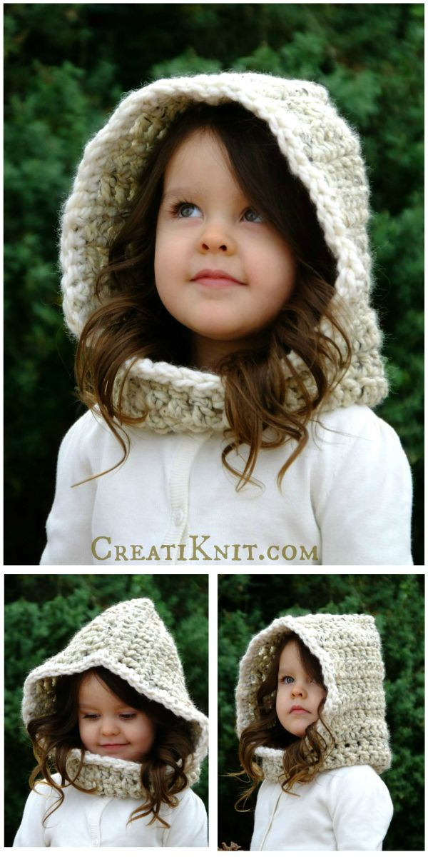 The Galadriell Hood - Crochet Pattern - Take your crocheting to a world of imagination with this elfin style hood crochet pattern!  Winter or Fall…baby will be warm & comfortable in her snowflake adventures!