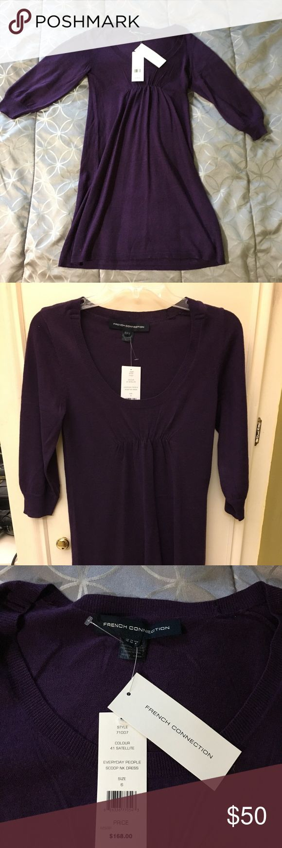 NWT French connection purple scoop neck dress French connection purple scoop neck dress. Perfect for fall/winter. It looks good alone and with leggings. I'm 5'1 just in case you need an idea of where the dress will fall on you and the arms go a little pass my elbows. French Connection Dresses