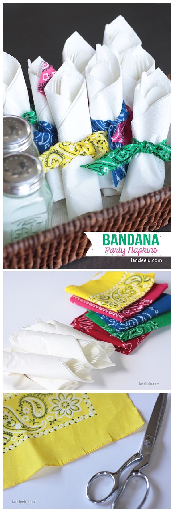 Easy DIY Bandana Napkin Rings Craft Tutorial - Perfect for a Summer Party, Potluck or Barbecue!