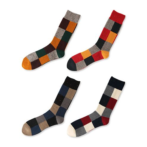 PATCHWORK WOOL MID-CALF SOCKS L image