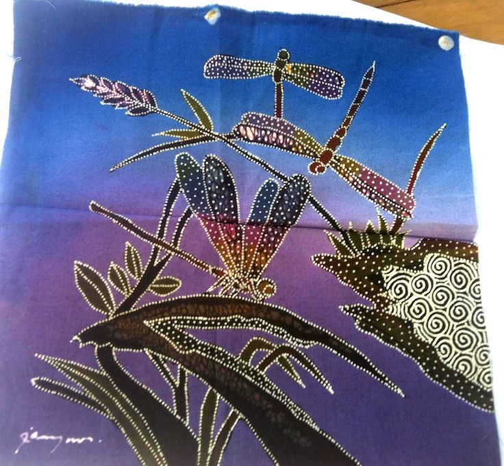 """May 24#FlareFabricsTGIF giveaway. Repin for a chance to win this 9"""" square hand made batik panel of dragonflies. Head over to facebook.com/flarefabrics for more chances. #batiks"""