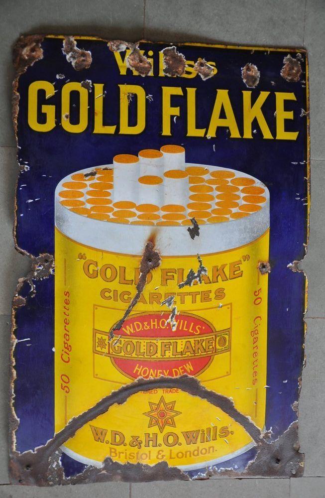 Vintage Wills Gold Flake Cigarettes Ad Porcelain Enamel Signboard