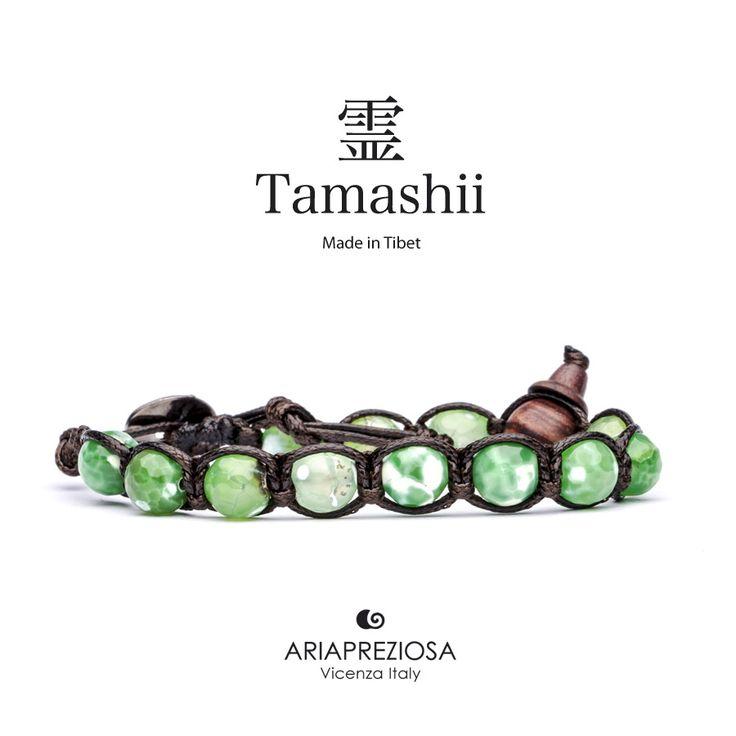 Tamashii - Bracciale Tradizionale Tibetano Agata Verde Cracked