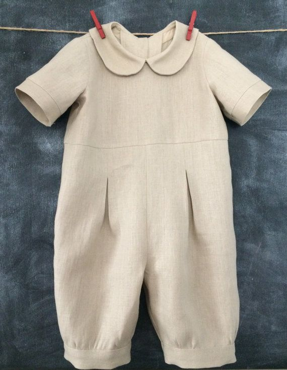Boys Linen Romper, Baby Linen Jon Jon, Toddler Baptism Outfit, Toddler Boy Linen Suit, Natural Linen Baby Boy Romper, Sizes 3-24 Months