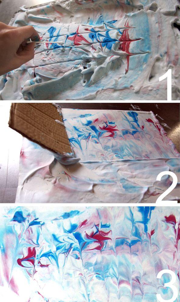 DIY marble print with shaving cream
