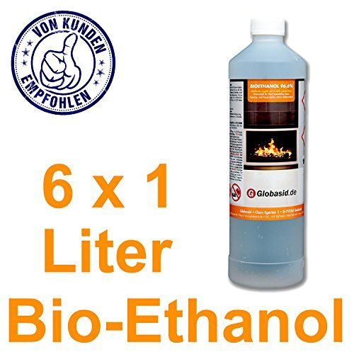 Bio-Ethanol 6 x 1 L 96,6% f�r Kamine 1 Liter Flaschen f�r handliche und sichere Anwendung Brennstoff f�r Deko-Kamine im Innen- und Au�enbereich Bio-Alkohol ist geruchsneutral & verbrennt r�ckstandslos