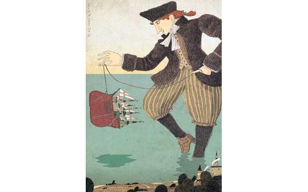 """David Pintor illustration for """"Gulliver's Travels""""."""