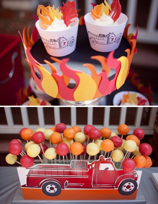 firetruck birthday party desserts | cupcakes and cake pops | paper & cake