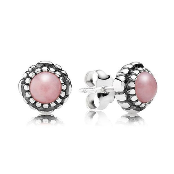 Pandora 290543POP Birthday Blooms Earrings October Pink Opal
