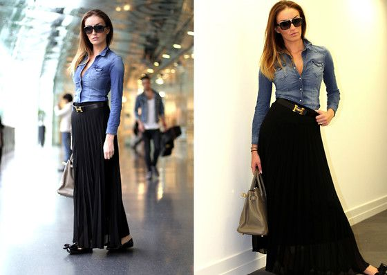 denim shirt and black maxi skirt - a simple idea and a great look :)