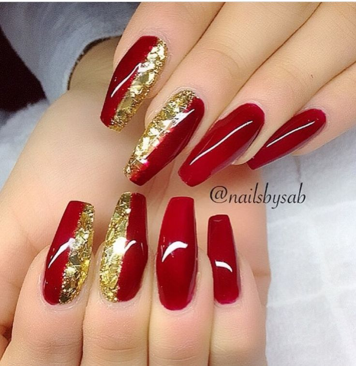 Red and gold nail inspo