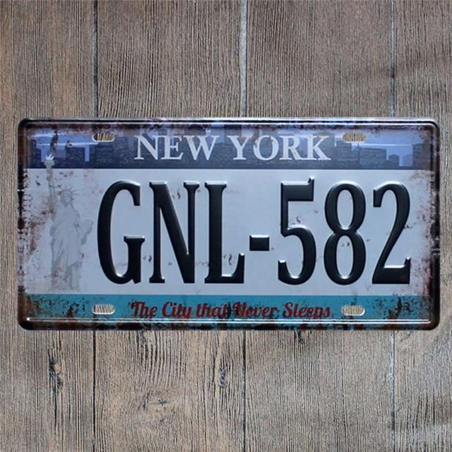 hohappyme American Car Plates Number USA License Plate Garage Plaque Metal Tin