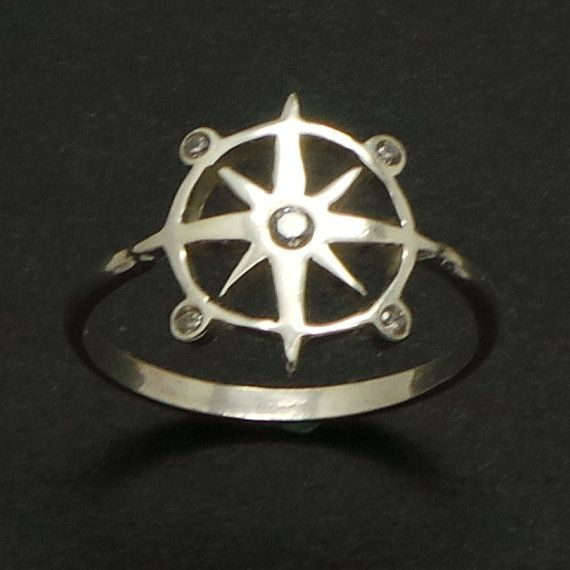 Silver Nautical Compass Ring  Nautical ring Graduation by yhtanaff