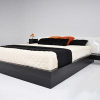 Furniture. Japanese Style Low Flat Platform Bed Frame With Headboard And Side Tables. Inspiring Japanese Style Platform Bed Designs. Custom Decor Awesome Home Interior & Decoration Ideas