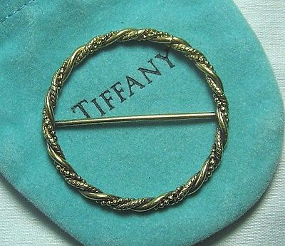 TIFFANY-Gold-Over-Sterling-Silver-Scarf-Ring-Slide-Holder-w-pouch-5-7-grams