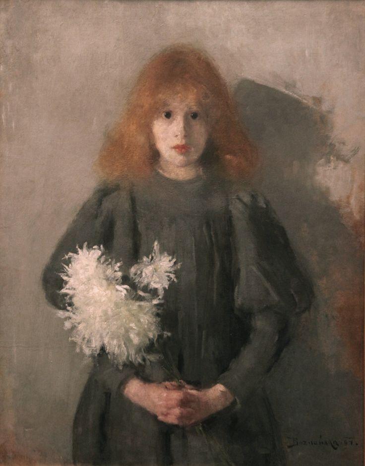 Olga Boznańska Dziewczynka z chryzantemami