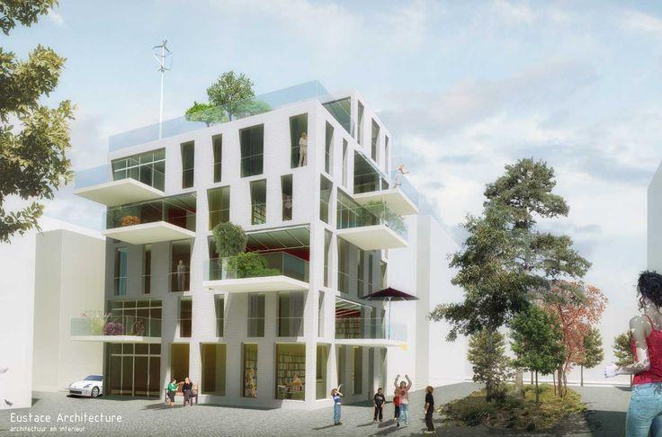 Duurzame CPO zelfbouw loft appartementen (perspectief gevelbeeld) - Loft casco appartementen   Eustace Architectuur