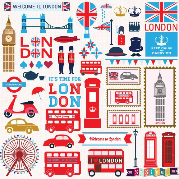 INSTANT DOWNLOAD London Travel Digital Clip Art by SasiyaDesigns