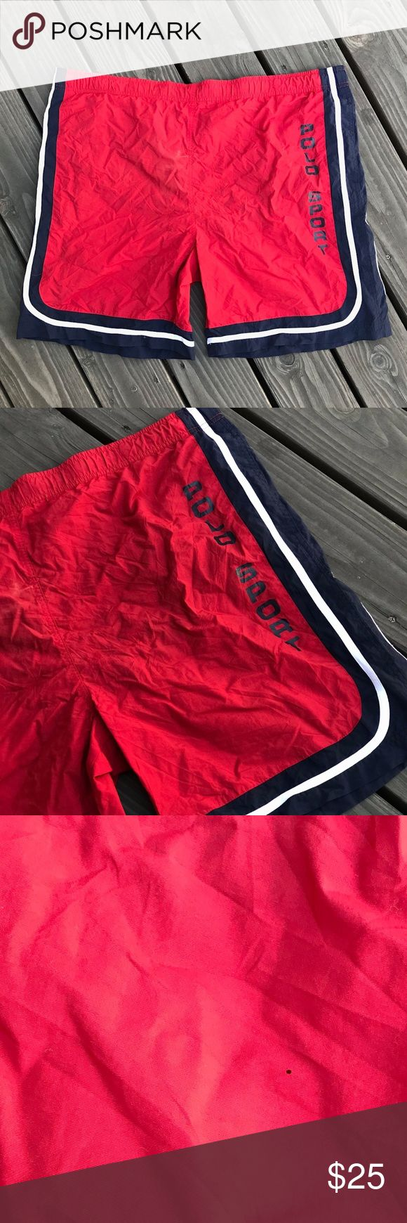 VINTAGE 90's POLO SPORT TRUNKS RED MEN'S XXL RARE Details: Great condition! Item has a few minor defects, please see photos. Still in great wearable condition. Red shorts with navy Polo Sport logo print on left left. White & navy stripes. 2 front pockets. Back pocket with velcro closing.  MEASUREMENTS FURNISHED UPON REQUEST!  *Ships from US.  *Same or next day shipping.  *First-Class US shipping (delivery in 1 to 3 business days).  *First-Class International shipping (delivery in 7 to 21…