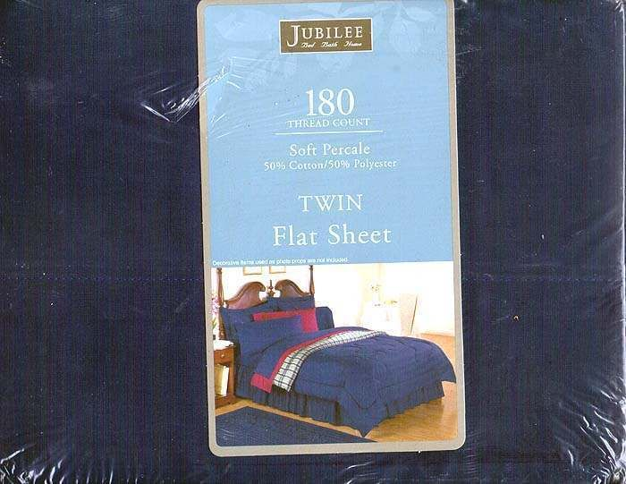 JUBILEE 180 THREAD COUNT SOFT PERCALE TWIN FLAT SHEET NAVY NIP #Jubilee