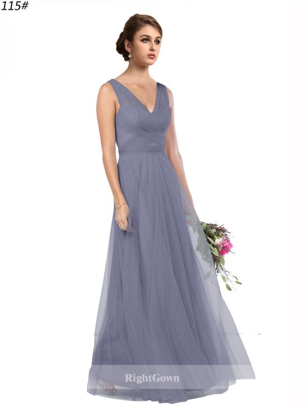 Cheap Right Gowns 2018 Chic and Contemporary V-Neck Long Tulle Purple Sleeveless Bridesmaid Dresses 173125, Right Bridesmaid Dresses, Cheap Bridesmaid Dresses and Buy Discount Bridesmaid Dresses2018