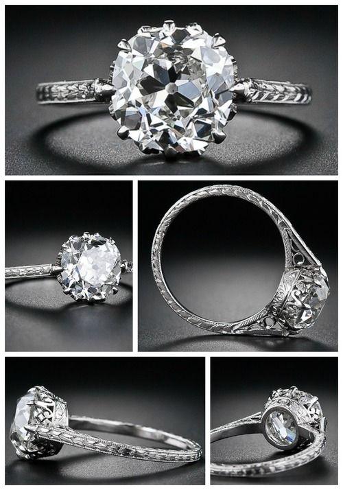 2.90 carat antique cushion-cut diamond engagement ring, circa 1915. Via Diamonds in the Library.