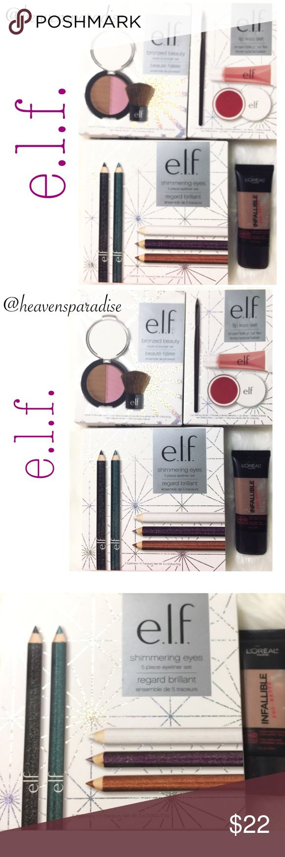 e.l.f. three box sets + L'Oréal foundation This e.l.f. Set has a total of 3 different box sets combined to give you more for your money. With Christmas right around the corner this is sure to sell pretty quickly.  •bronzed beauty blush & bronzer set:   1 blush & bronzer duo •shimmering eyes:   5 pcs eyeliner set:   1 black, 1 green, 1 white, 1 purple, & 1 brown •lip kiss set:   1 lip defining brush, 1 lip gloss, & 1 lip balm •L'Oréal Infallible pro-matte foundation:   Color Cocoa e.l.f…