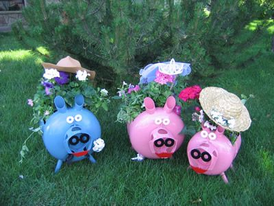 pig planters are recycled from outdated propane tanks