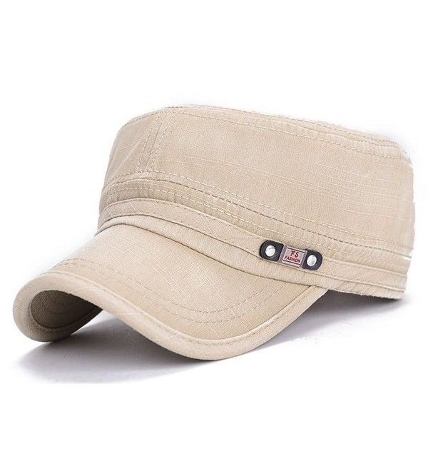 Adjustable Flat Top Cap Solid Brim Army Cadet Style Military Hat Beige Ck17yhi4x6x Army Cap Military Hat Summer Cap