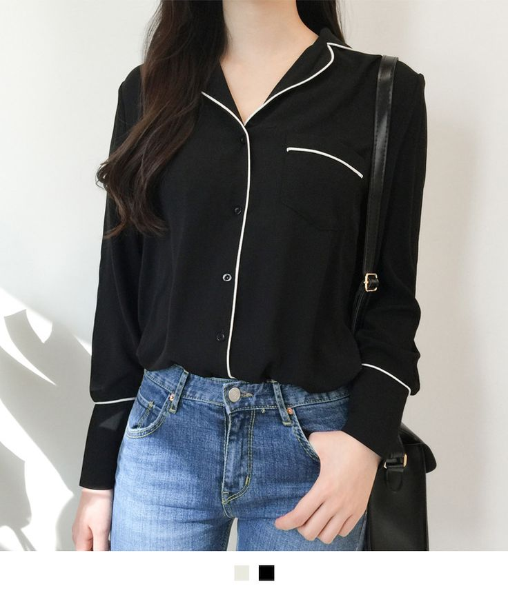 Perfect for a laid-back weekend, this pajama blouse comes with a soft and light feel! It features a notched collar, one chest pocket, a button-down closure, long sleeves with buttoned cuffs, and a piping trim for contrast. Wear it with your skirt and sand