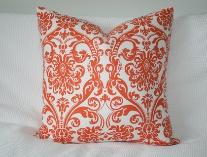 Damask cushion cover, Orange and White, Bright and ready for summer!