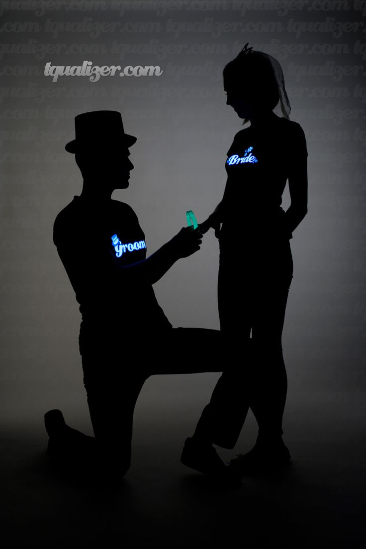 The T-Qualizer Bride & Groom Light Up T-Qualizer t-shirts $29.95
