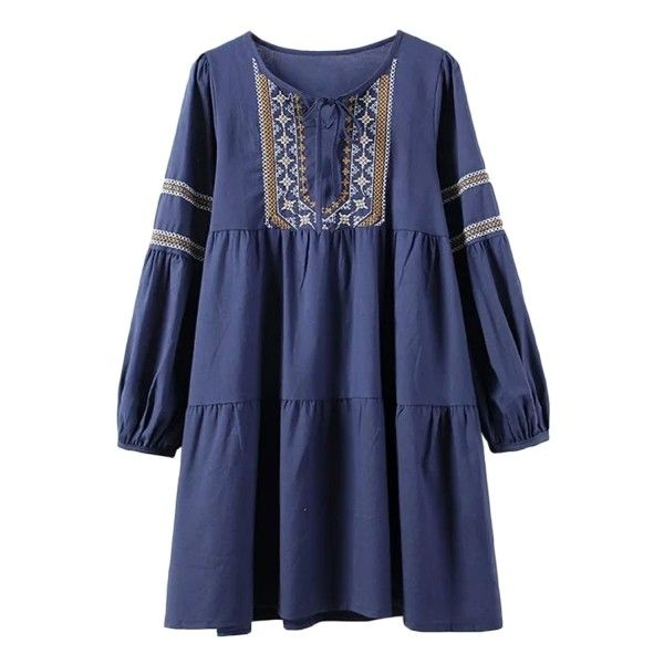 Vintage Embroidery Print Lace-up Neck Dress ($30) ❤ liked on Polyvore featuring dresses, loose dress, pattern dress, lace up dress, laced dress and print dress