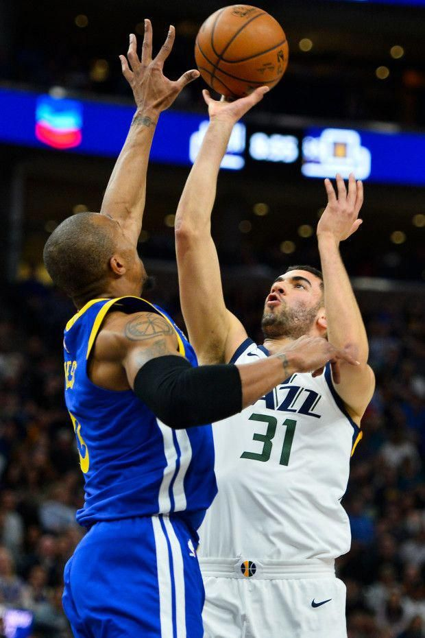 online store d82aa 2efbc Utah Jazz forward Georges Niang (31) shoots over Golden ...