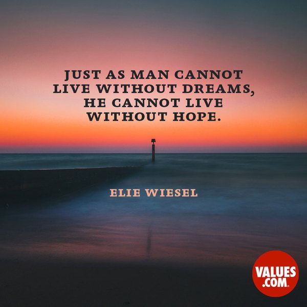 Just as man cannot live without dreams, he cannot live without hope. If dreams reflect the past, hope summons the future. Elie Wiesel