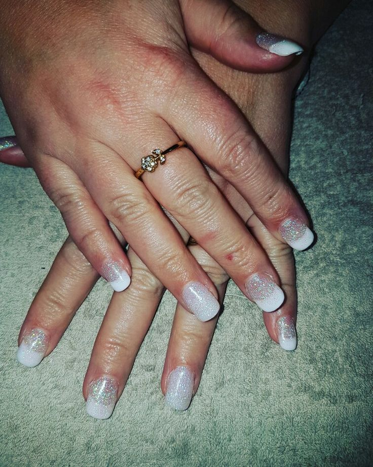 Bridesmaid Nails  French Acrylic with a dash of sparkle