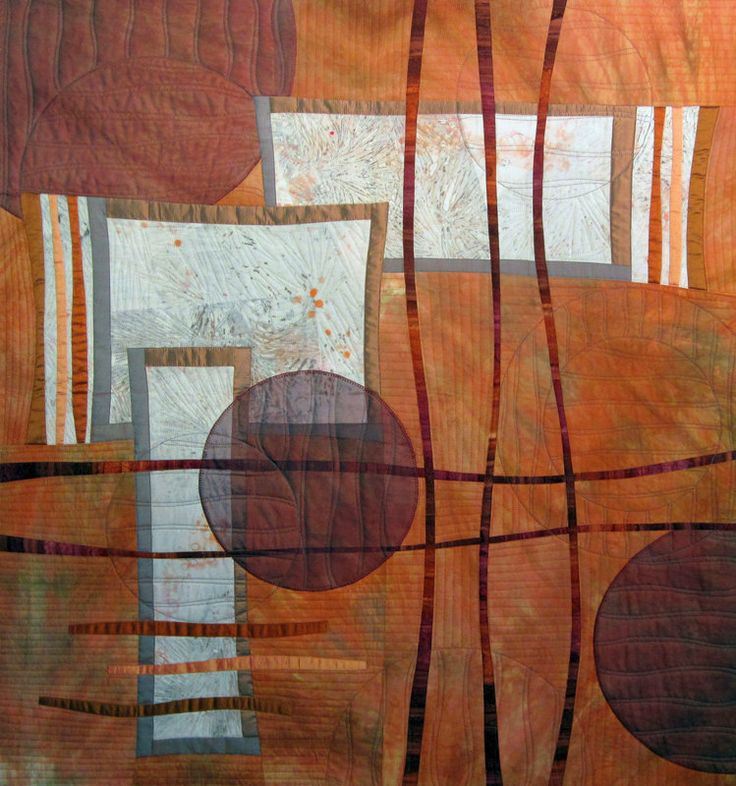 Contemporary Art Quilts Light Orange Wall by derstinedesigns