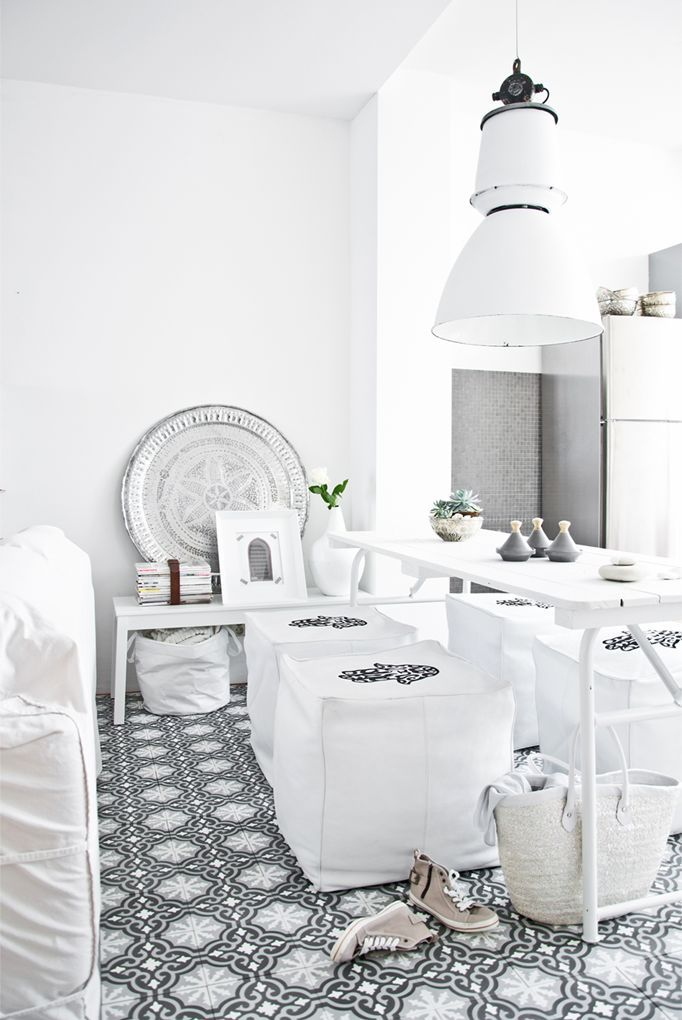 Shades of white and gray Moroccan style.
