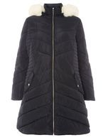 Womens DP Curve Plus Size Black Faux Fur Trim Puffer Jacket- Blue