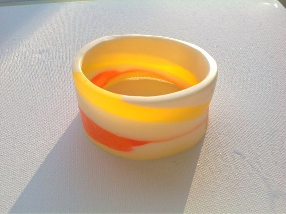 Yellow and White Organic Shaped Resin Bangle by BBsArtandDesign