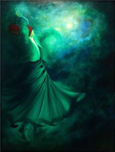 """Beyond what we wish and what we fear may happen, we have another life as clear and free as a mountain stream."" —Rumi (Art: Dervish, oil on canvas by Gülcan Karadağ) ..*"