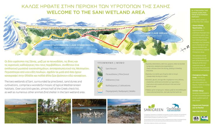 Sani Wetlands Signs. All signs include information for the area and its importance, the birds and other habitats of the wetlands, the birds-visitors during the 4 seasons, the forest, the sand dunes as well as information on how guests can enjoy the area without harming it. This action is part of the Sani Wetlands project in cooperation with Hellenic Ornithological Society. Location: Halkidiki, Greece