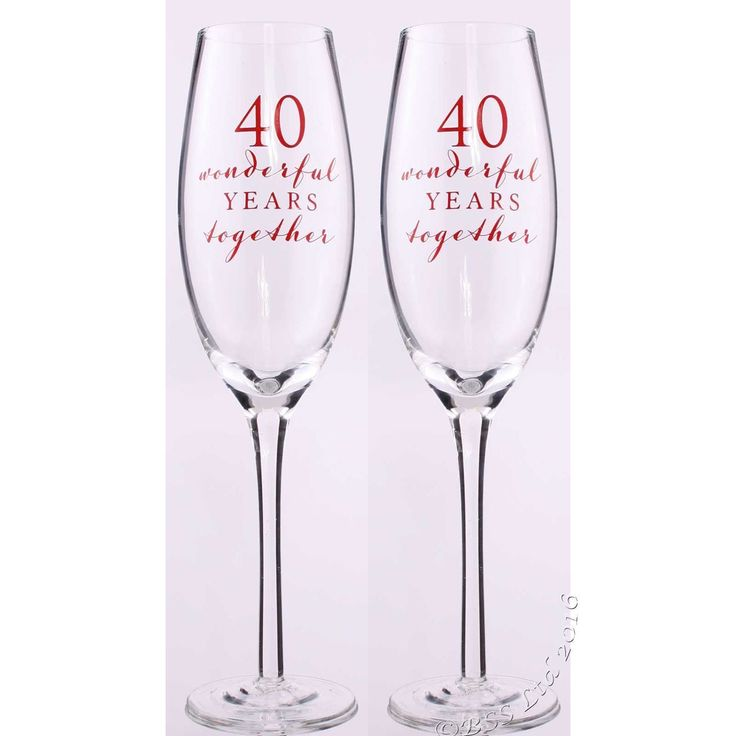 40th Anniversary Champagne Flutes