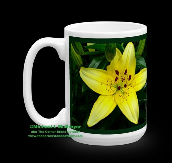 Yellow Asian Lily 15oz Ceramic Mug, Outdoor Floral Photography, Kentucky Scene, Dishwasher and Microwave Safe via The Corner Stone Cowboy. Click on the image to see more!