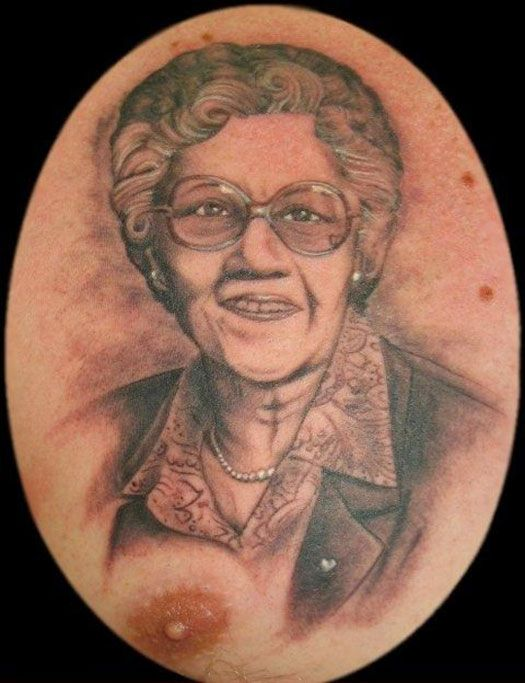 Wow! Who knew grandma had such big nips!... .. .. ...yeah it's Bad Tattoo ToosDay... 14 more...
