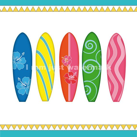 Printable Surfboards Clipart Each A4 For Card Design