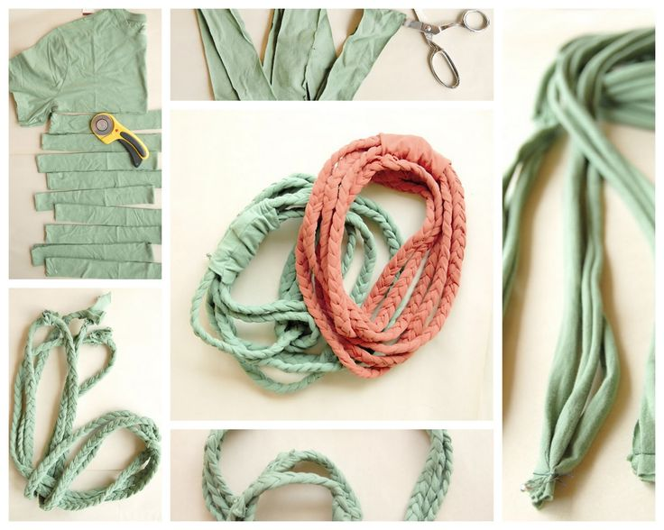 Braided t-shirt necklace.