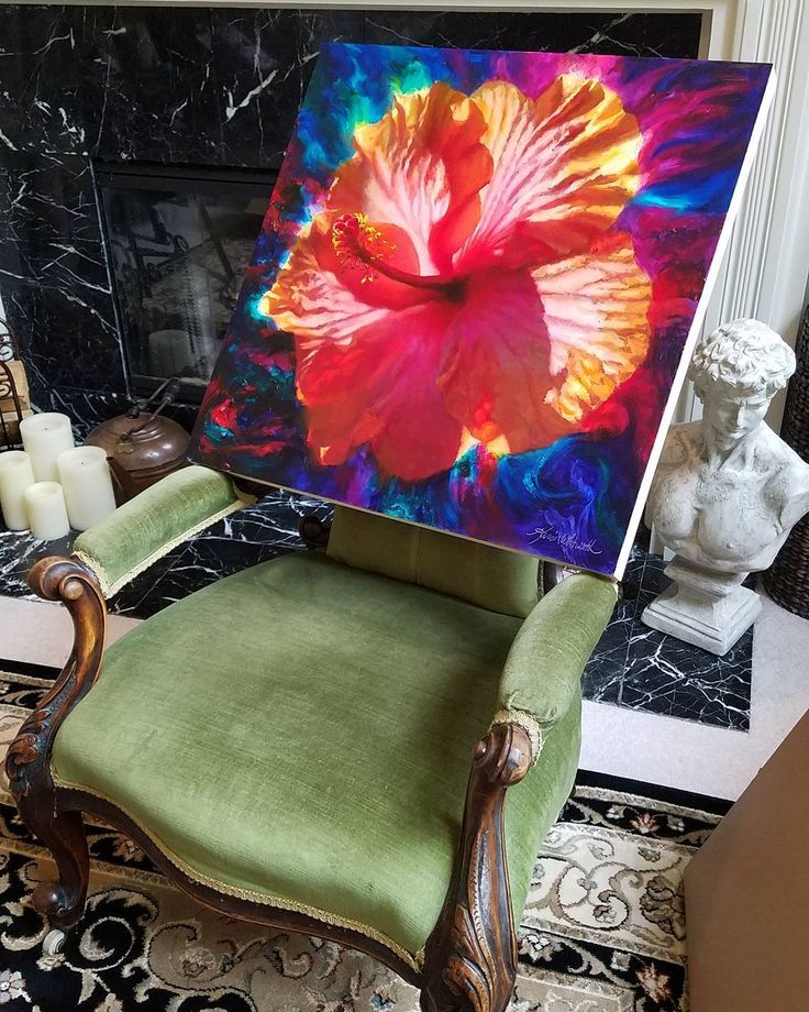 When your drying racks are full you improvise.  #antique chair to the rescue.  #newart #originalart #artcollector #artgallery #flowerart #tropical #hibiscus #hawaiiart #taboragallery #pnwartist #seattleartist #oilpainting #artistlife #artistproblems